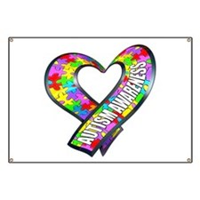 Puzzle Ribbon Heart Banner