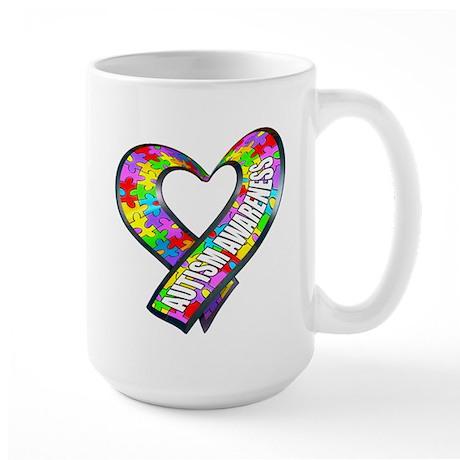 Puzzle Ribbon Heart Large Mug