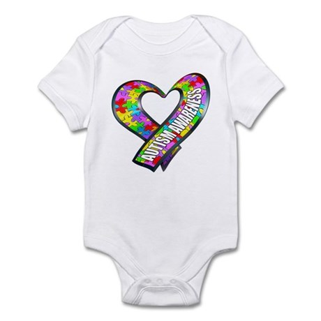 Puzzle Ribbon Heart Infant Bodysuit