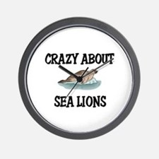 Crazy About Sea Lions Wall Clock