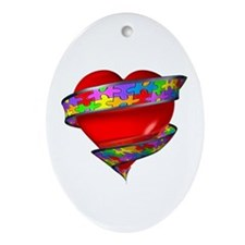 Red Heart w/ Ribbon Oval Ornament