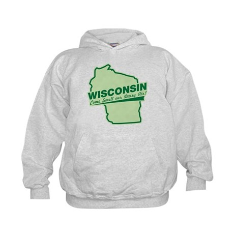 wisconsin - smell our dairy air Kids Hoodie