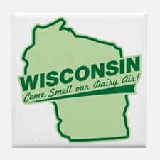 wisconsin - smell our dairy air Tile Coaster
