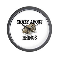 Crazy About Rhinos Wall Clock