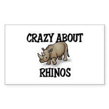 Crazy About Rhinos Rectangle Decal