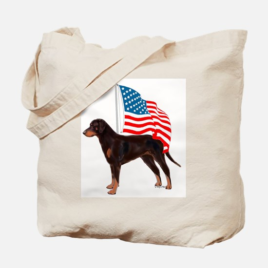 Beauceron with flag Tote Bag