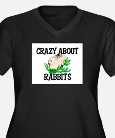 Crazy About Rabbits Women's Plus Size V-Neck Dark