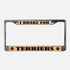I Brake For Terriers License Plate Frame