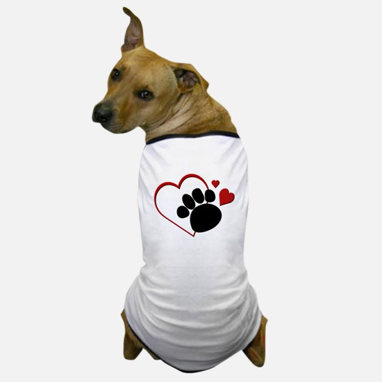 Dog Paw Print with Love Heart Dog T-Shirt