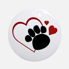 Dog Paw Print with Love Heart Ornament (Round)