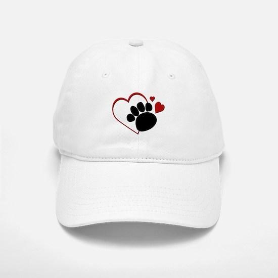 Dog Paw Print with Love Heart Baseball Baseball Cap