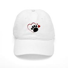 Dog Paw Print with Love Heart Baseball Cap