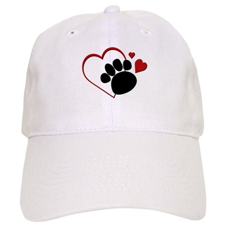 Dog Paw Print with Love Heart Cap