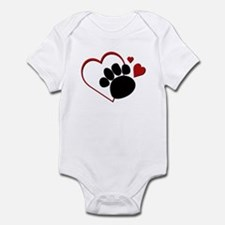 Dog Paw Print with Love Heart Infant Bodysuit