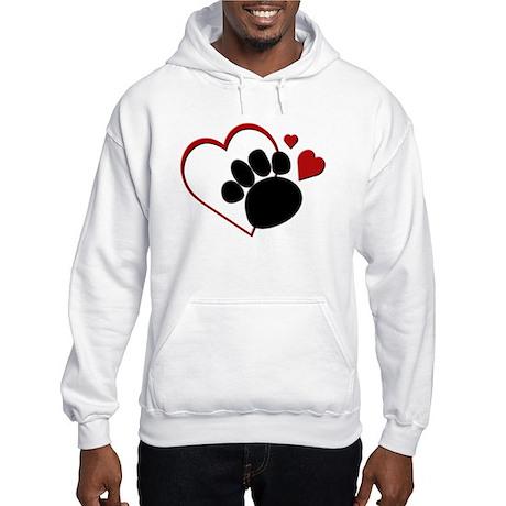 Dog Paw Print with Love Heart Hooded Sweatshirt