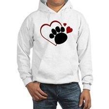 Dog Paw Print with Love Heart Hoodie