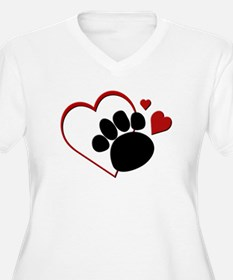 Dog Paw Print with Love Heart T-Shirt