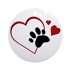 Cat Paw Print and Love Hearts Ornament (Round)
