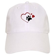 Cat Paw Print and Love Hearts Baseball Cap
