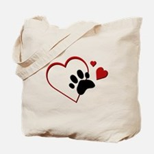 Cat Paw Print and Love Hearts Tote Bag