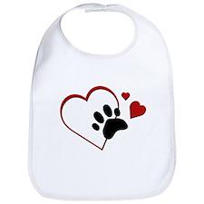 Cat Paw Print and Love Hearts Bib
