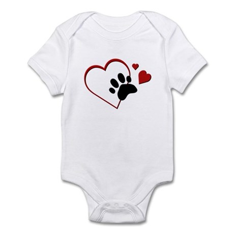 Cat Paw Print and Love Hearts Infant Bodysuit
