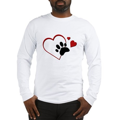 Cat Paw Print and Love Hearts Long Sleeve T-Shirt