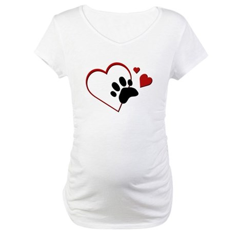 Cat Paw Print and Love Hearts Maternity T-Shirt