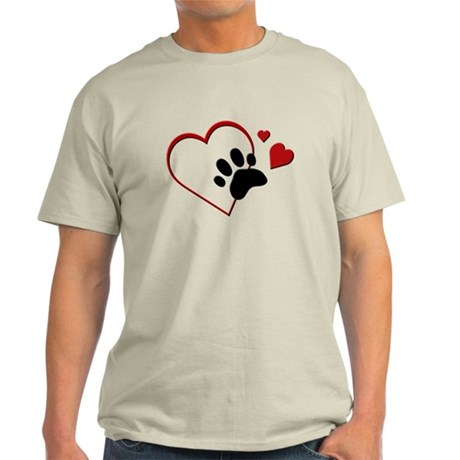 Cat Paw Print and Love Hearts Light T-Shirt