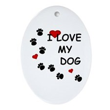 I Love my Dog Paw Prints Oval Ornament