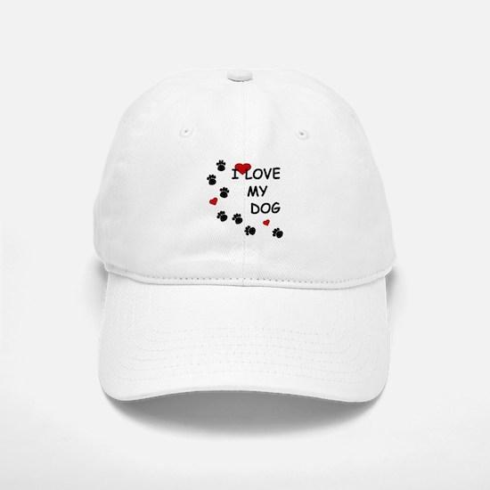 I Love my Dog Paw Prints Baseball Baseball Cap