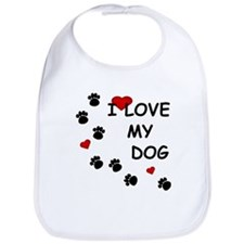 I Love my Dog Paw Prints Bib