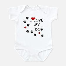 I Love my Dog Paw Prints Infant Bodysuit