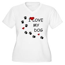 I Love my Dog Paw Prints T-Shirt