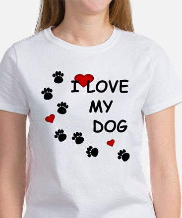 I Love my Dog Paw Prints Women's T-Shirt