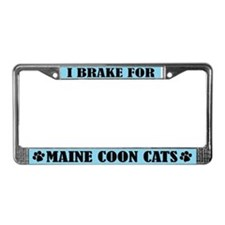 I Brake For Maine Coon Cats License Frame