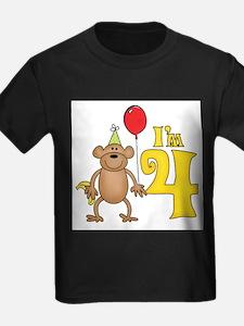 Funny Monkey 4th Birthday T-Shirt