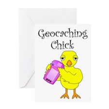 Geocaching Chick Greeting Card