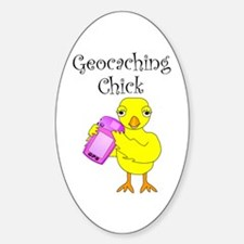 Geocaching Chick Oval Decal