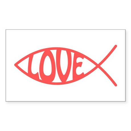 Jesus Christ Love Fish Rectangle Sticker