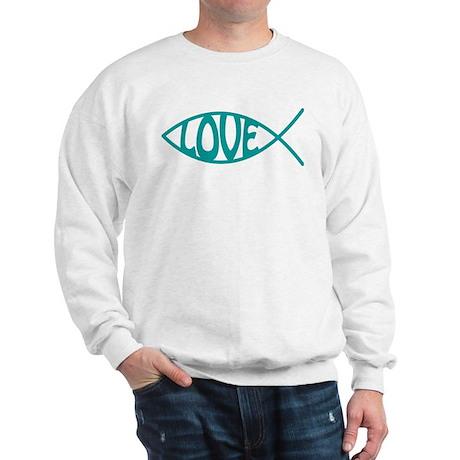 Jesus Christ Love Fish Sweatshirt