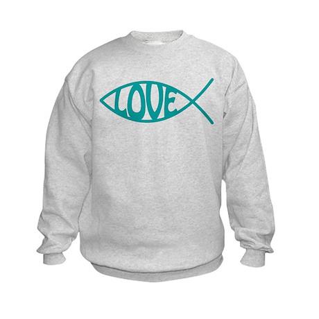 Jesus Christ Love Fish Kids Sweatshirt