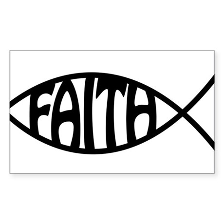 Jesus Christ Faith Fish Rectangle Sticker