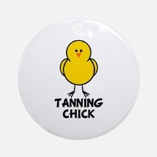 Tanning Chick Ornament (Round)