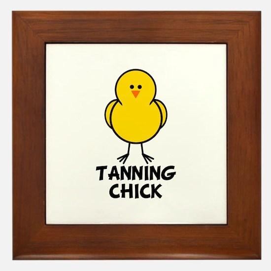 Tanning Chick Framed Tile