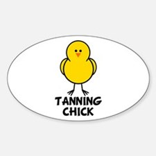 Tanning Chick Oval Decal