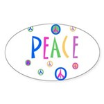 Pastel Peace Symbols Oval Sticker