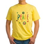 Pastel Peace Symbols Yellow T-Shirt