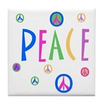 Pastel Peace Symbols Tile Coaster