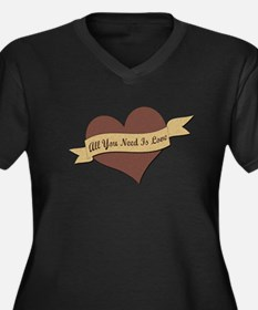 All You Need Is Love Women's Plus Size V-Neck Dark